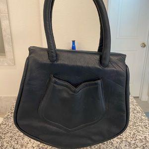 MARK CROSS Vintage Blue Leather Top Handle Bag